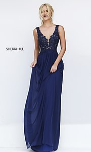 Image of Sherri Hill long formal gown with lace bodice. Style: SH-50255 Front Image