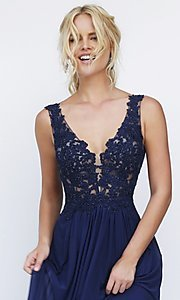 Image of Sherri Hill long formal gown with lace bodice. Style: SH-50255 Detail Image 1