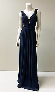 Image of long formal chiffon gown with lace bodice. Style: SH-50255 Detail Image 1