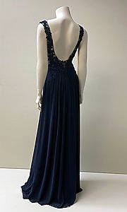 Image of long formal chiffon gown with lace bodice. Style: SH-50255 Detail Image 2