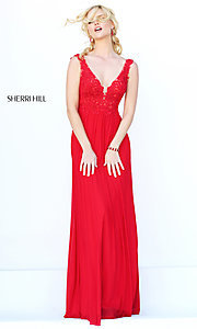 Image of Sherri Hill long formal gown with lace bodice. Style: SH-50255 Detail Image 3