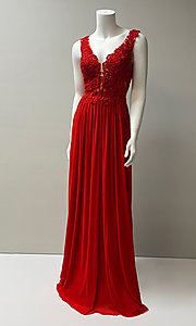 Image of long formal chiffon gown with lace bodice. Style: SH-50255 Front Image