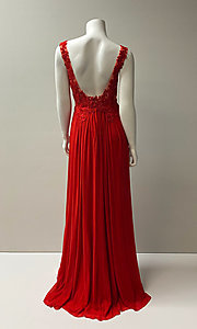 Image of long formal chiffon gown with lace bodice. Style: SH-50255 Back Image