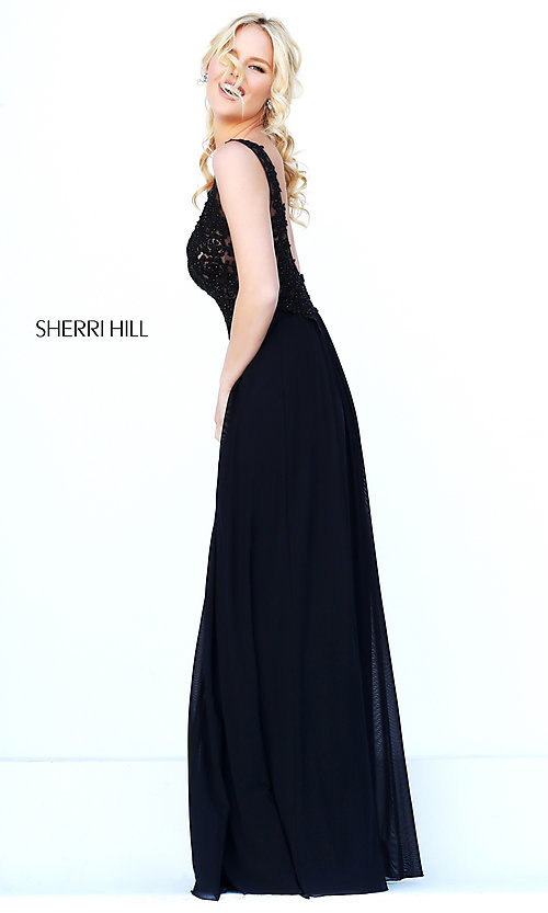 Image of Sherri Hill long formal gown with lace bodice. Style: SH-50255 Back Image