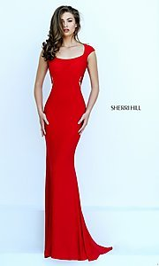 Image of Floor Length Lace Formal Gown Style: SH-50286 Back Image