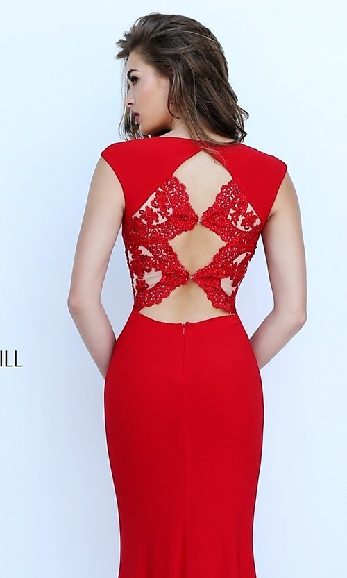 Image of Floor Length Lace Formal Gown Style: SH-50286 Detail Image 1