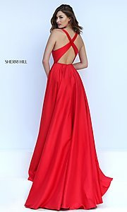 Image of open-back Sherri Hill formal gown Style: SH-50296 Back Image