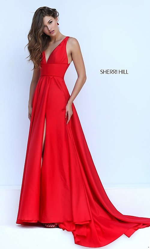 Open-Back Sherri Hill Full-Length Formal Gown