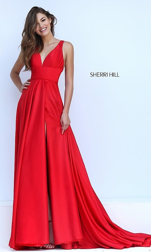 Image of open-back Sherri Hill formal gown Style: SH-50296 Detail Image 1