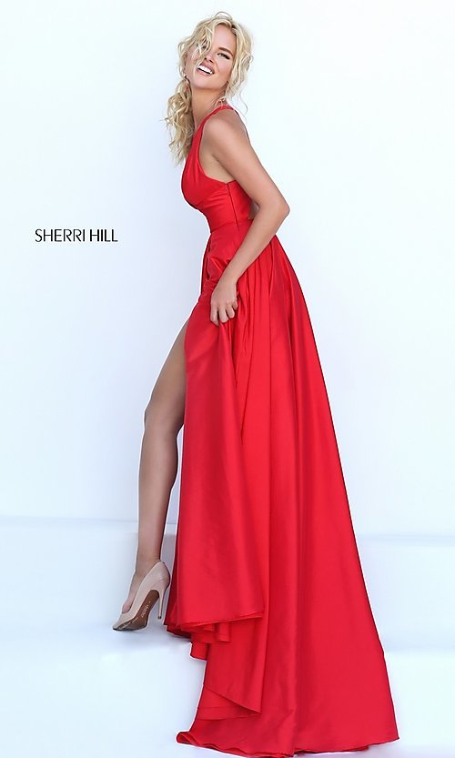 Image of open-back Sherri Hill formal gown Style: SH-50296 Detail Image 2