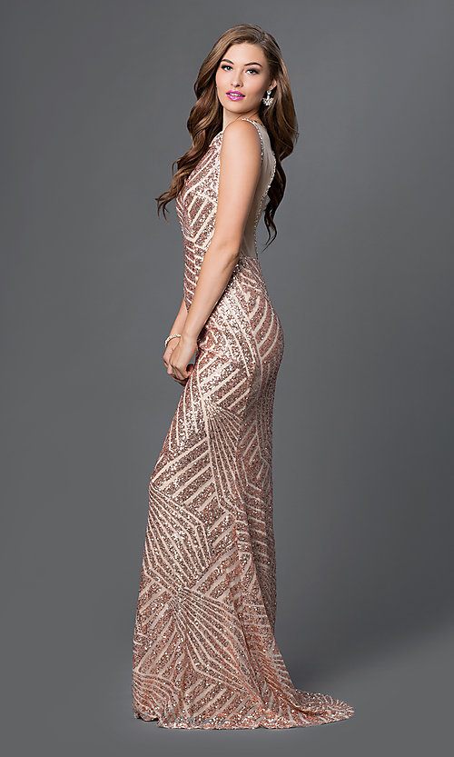 Sequin-Print Open-Back Long Formal Gown
