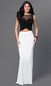 Image of black and white two-piece long formal prom dress. Style: DJ-2649 Front Image