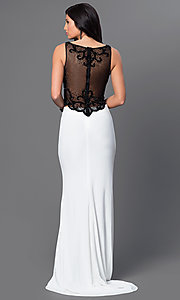 Image of black and white two-piece long formal prom dress. Style: DJ-2649 Back Image