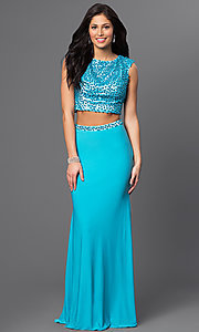 Image of turquoise blue two-piece long formal prom dress. Style: DJ-2298 Front Image