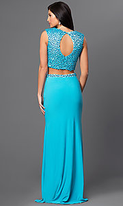 Image of turquoise blue two-piece long formal prom dress. Style: DJ-2298 Back Image