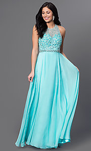 Image of Dave and Johnny long aqua formal prom dress. Style: DJ-2435 Front Image