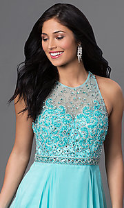 Image of Dave and Johnny long aqua formal prom dress. Style: DJ-2435 Detail Image 1