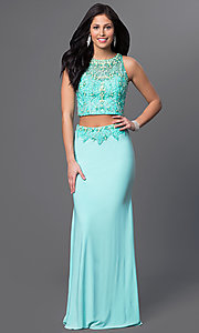 Image of Dave and Johnny long aqua two-piece formal dress. Style: DJ-2499 Front Image