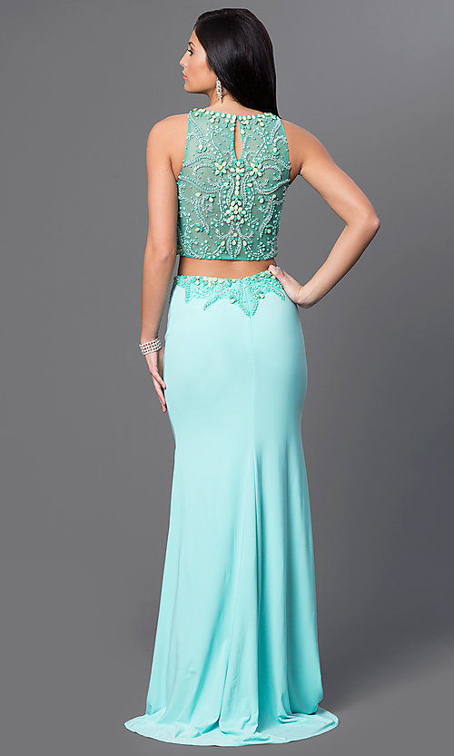 Image of Dave and Johnny long aqua two-piece formal dress. Style: DJ-2499 Back Image