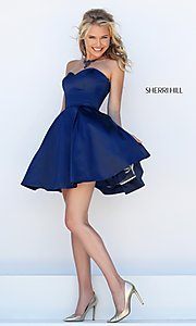 Image of Short Semi Formal Dress With Pockets Style: SH-50228 Front Image