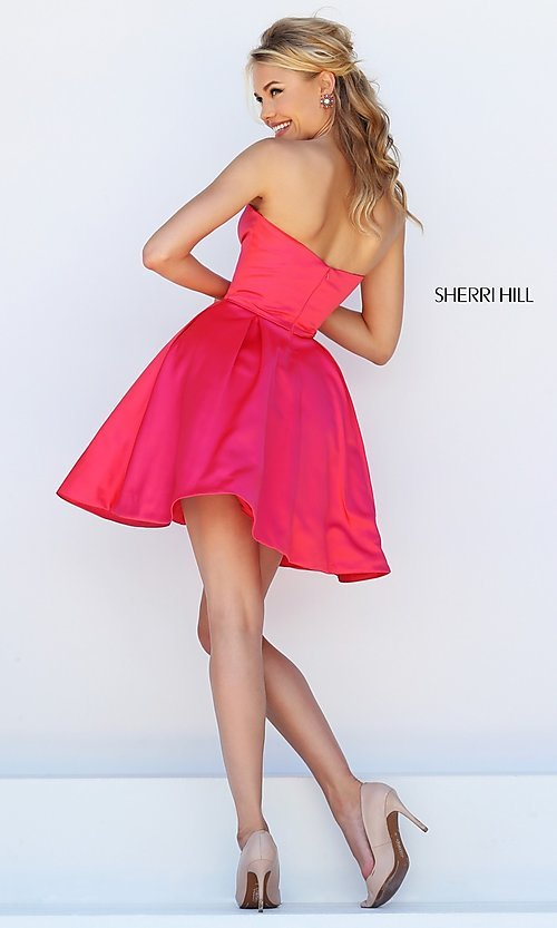 Image of Short Semi Formal Dress With Pockets Style: SH-50228 Back Image