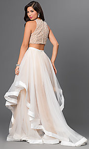 Image of Two Piece Beaded Long Prom Dress Style: TI-DL300 Back Image