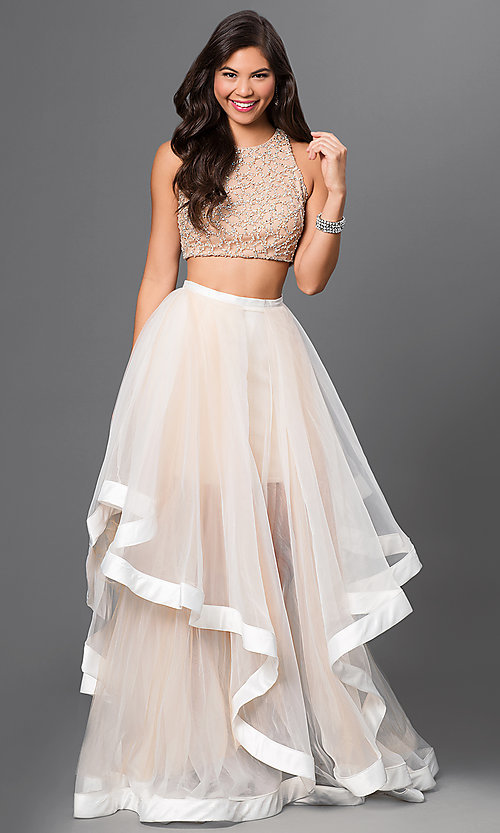 597b561b7d135 Image of Two Piece Beaded Long Prom Dress Style: TI-DL300 Front Image
