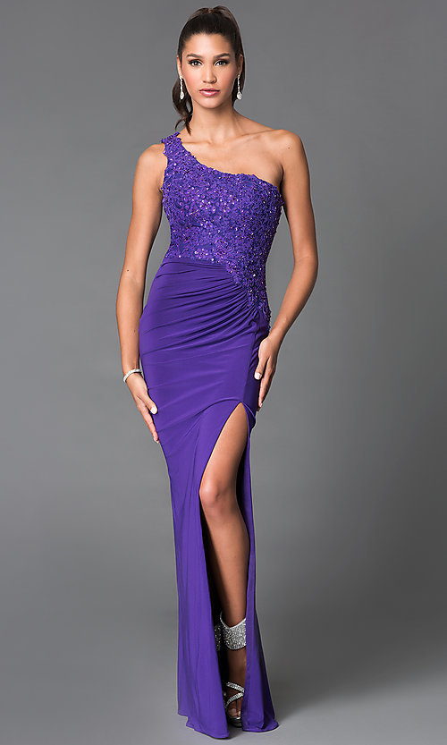 3e29539e0a2 Image of long beaded one-shoulder dress with side slit. Style  MF-