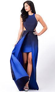 Image of backless high-low ombre sleeveless formal dress. Style: LF-22328 Front Image