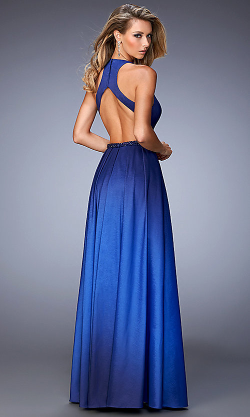 Image of backless high-low ombre sleeveless formal dress. Style: LF-22328 Back Image