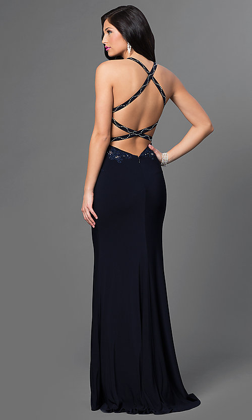 Image of midnight blue long formal dress with open back.  Style: AL-35760 Back Image