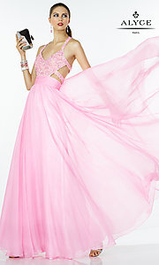 Image of long pink chiffon evening dress with beaded bodice.  Style: AL-35766 Front Image