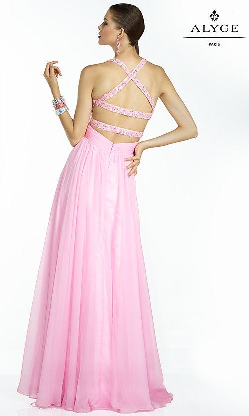 Image of long pink chiffon evening dress with beaded bodice.  Style: AL-35766 Back Image