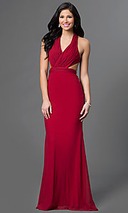 Image of floor-length V-neck backless formal gown Style: AL-35771 Front Image