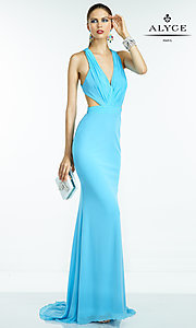 Image of floor-length V-neck backless formal gown Style: AL-35771 Detail Image 3