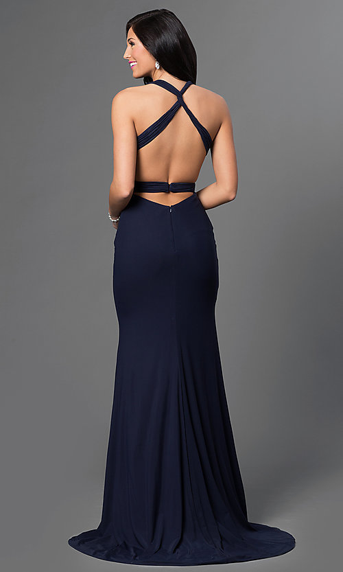Image of floor-length V-neck backless formal gown Style: AL-35771 Back Image