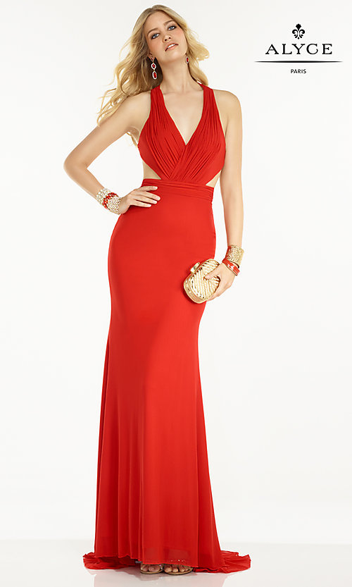 Image of floor-length V-neck backless formal gown Style: AL-35771 Detail Image 1