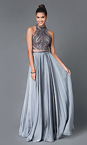 Image of two-piece high-neck beaded long formal gown Style: MF-E1940 Front Image