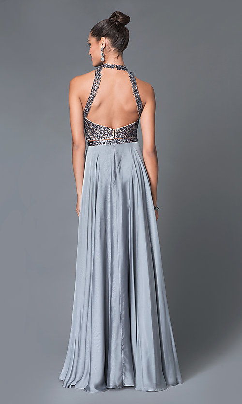 Image of two-piece high-neck beaded long formal gown Style: MF-E1940 Back Image