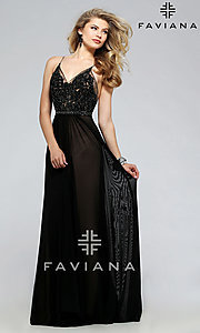 Image of beaded-lace spaghetti-strap long formal gown. Style: FA-7717 Front Image