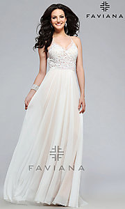 Image of beaded-lace spaghetti-strap long formal gown. Style: FA-7717 Detail Image 2