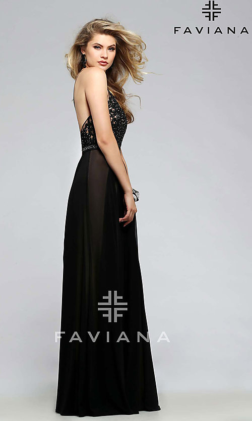 Image of beaded-lace spaghetti-strap long formal gown. Style: FA-7717 Detail Image 1