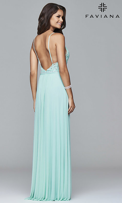 Image of beaded-lace spaghetti-strap long formal gown. Style: FA-7717 Back Image