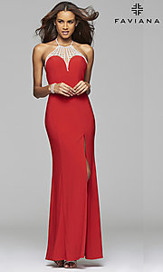 Image of Faviana floor-length jeweled-illusion open-back gown.  Style: FA-7727 Detail Image 2