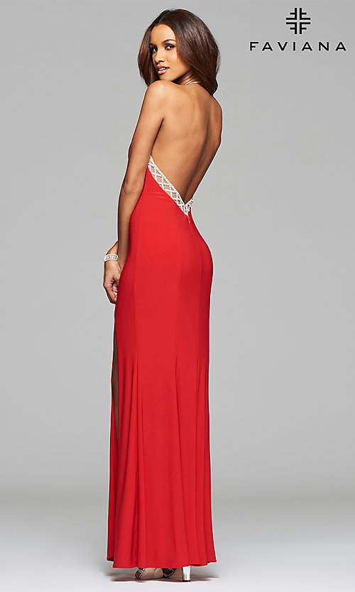 Image of Faviana floor-length jeweled-illusion open-back gown.  Style: FA-7727 Detail Image 3