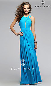 Image of Floor Length Formal Faviana Gown with Open Back Style: FA-7741 Detail Image 2