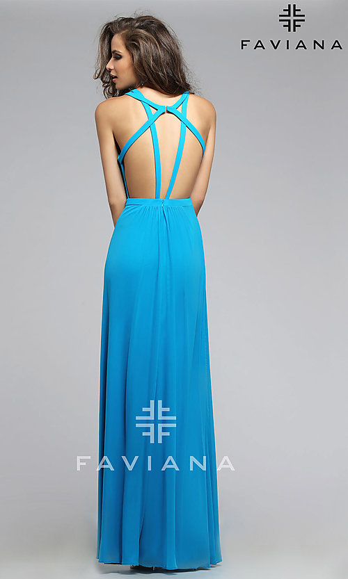 Image of Floor Length Formal Faviana Gown with Open Back Style: FA-7741 Detail Image 3