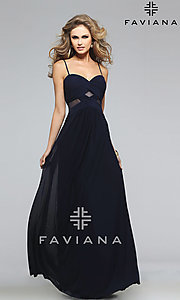 Image of Faviana navy-blue sweetheart open-back gown  Style: FA-7742 Front Image