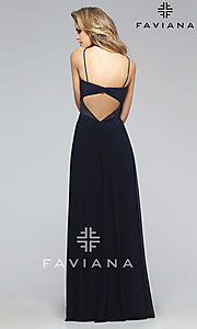 Image of Faviana navy-blue sweetheart open-back gown  Style: FA-7742 Back Image