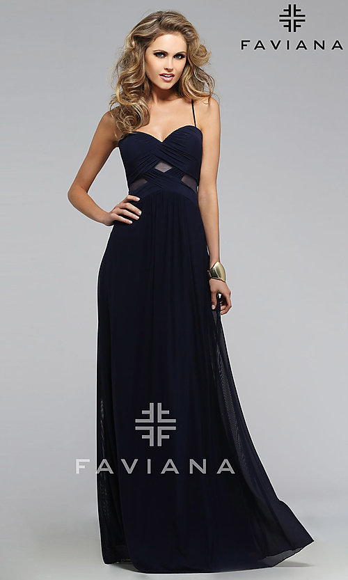 Image of Faviana navy-blue sweetheart open-back gown  Style: FA-7742 Detail Image 1